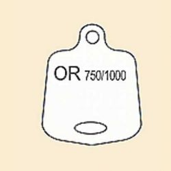 ETIQUETTE BLANCHE EN PLASTIQUE - OR 750/1000 POUR PENDENTIF